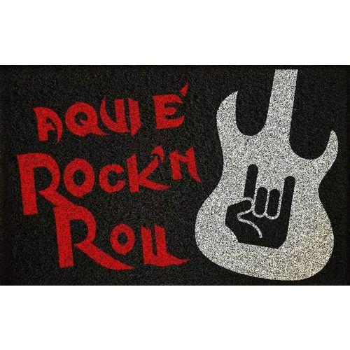 Tapete Capacho Aqui é Rock in Roll 60x40 cm  - Zap Tapetes e Capachos Personalizados