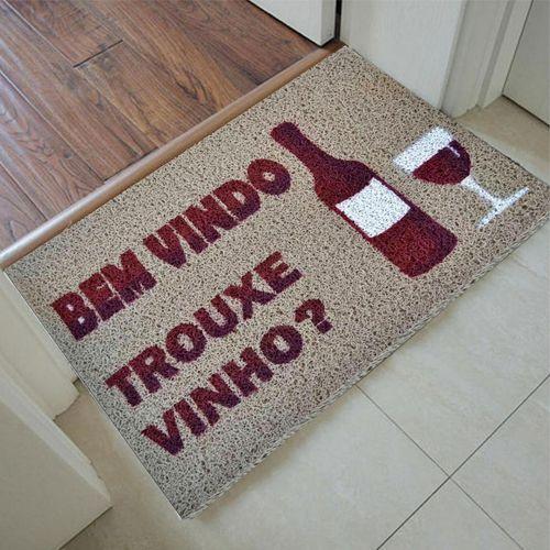 Tapete Capacho bem vindo, trouxe vinho 60x40  - Zap Tapetes e Capachos Personalizados