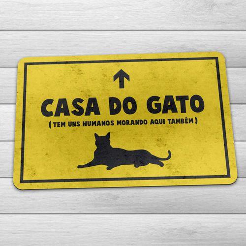 Tapete Capacho Casa do Gato 60x40 cm - Amarelo  - Zap Tapetes e Capachos Personalizados