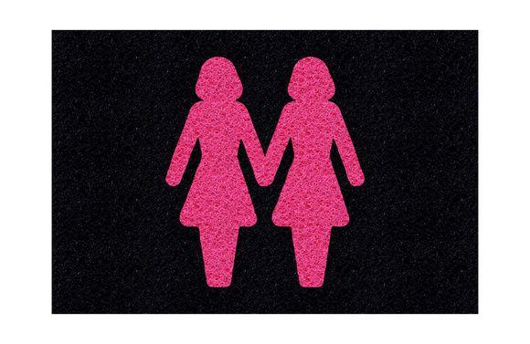 Tapete capacho casal feminino LGBT 60x40cm  - Zap Tapetes e Capachos Personalizados