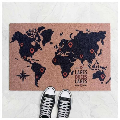Tapete Capacho do Viajante - Mapa Múndi, Lares Doces Lares 60x40 cm Ouro  - Zap Tapetes e Capachos Personalizados