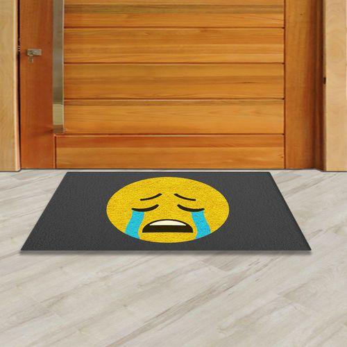 Tapete Capacho Emoji Chorando 60x40 cm  - Zap Tapetes e Capachos Personalizados