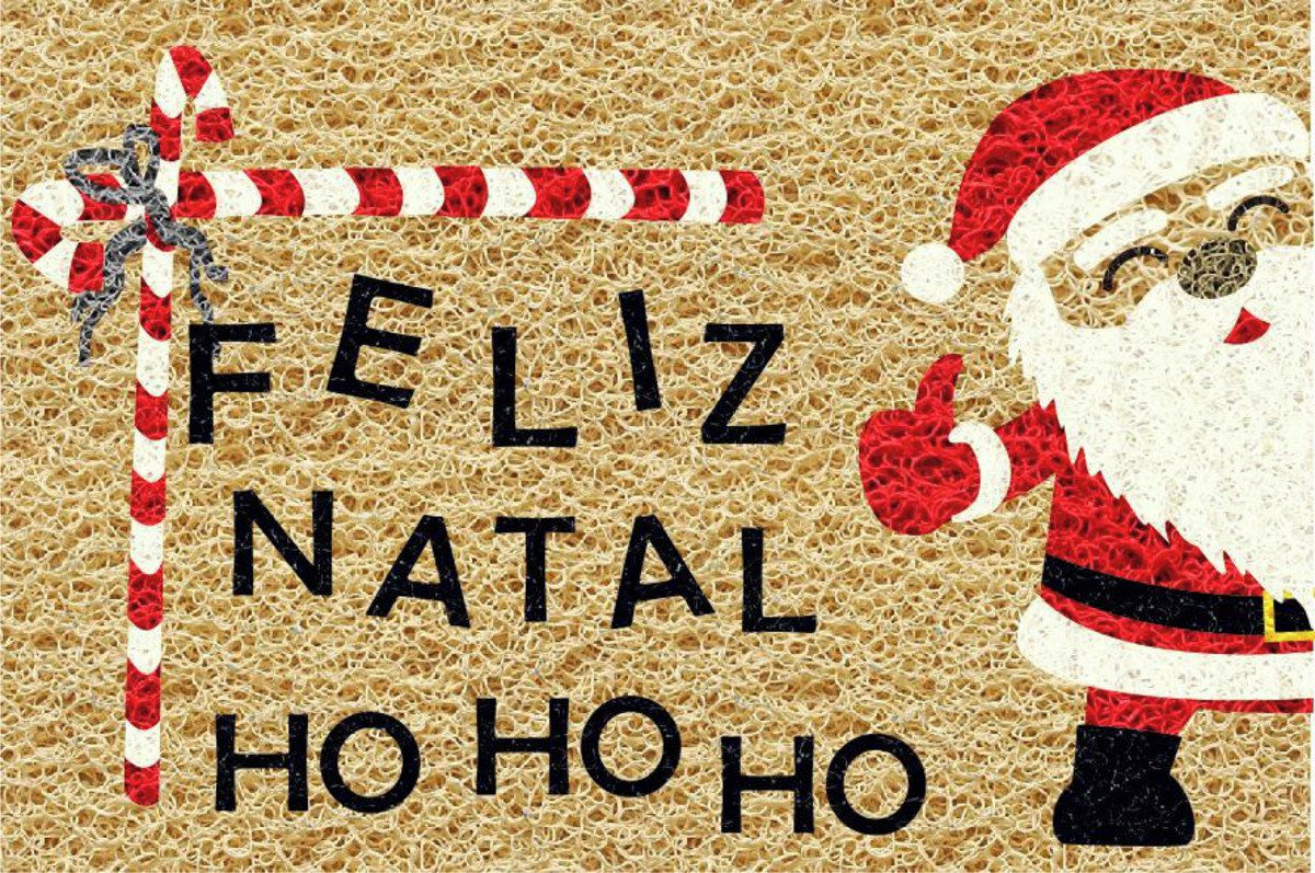 Tapete capacho Feliz Natal 60x40cm  - Zap Tapetes e Capachos Personalizados