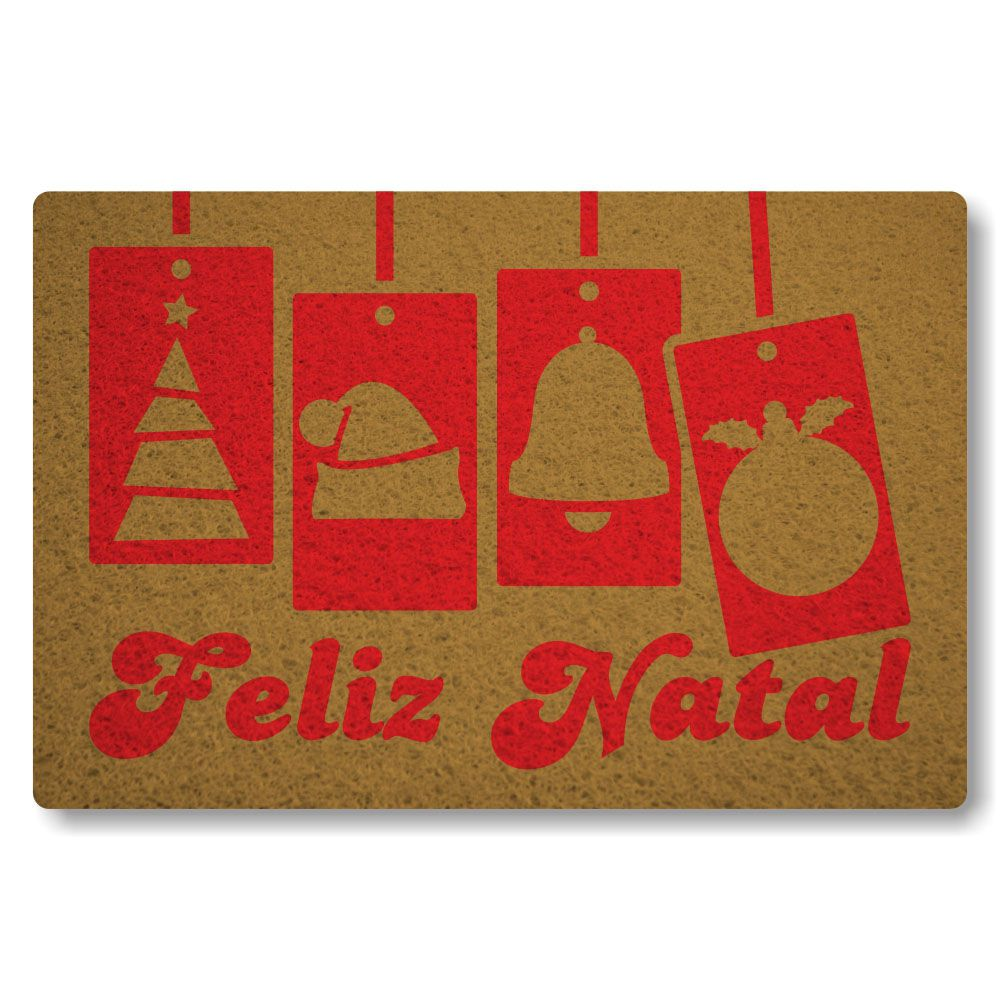 Tapete capacho Feliz Natal 60x40cm ouro  - Zap Tapetes e Capachos Personalizados