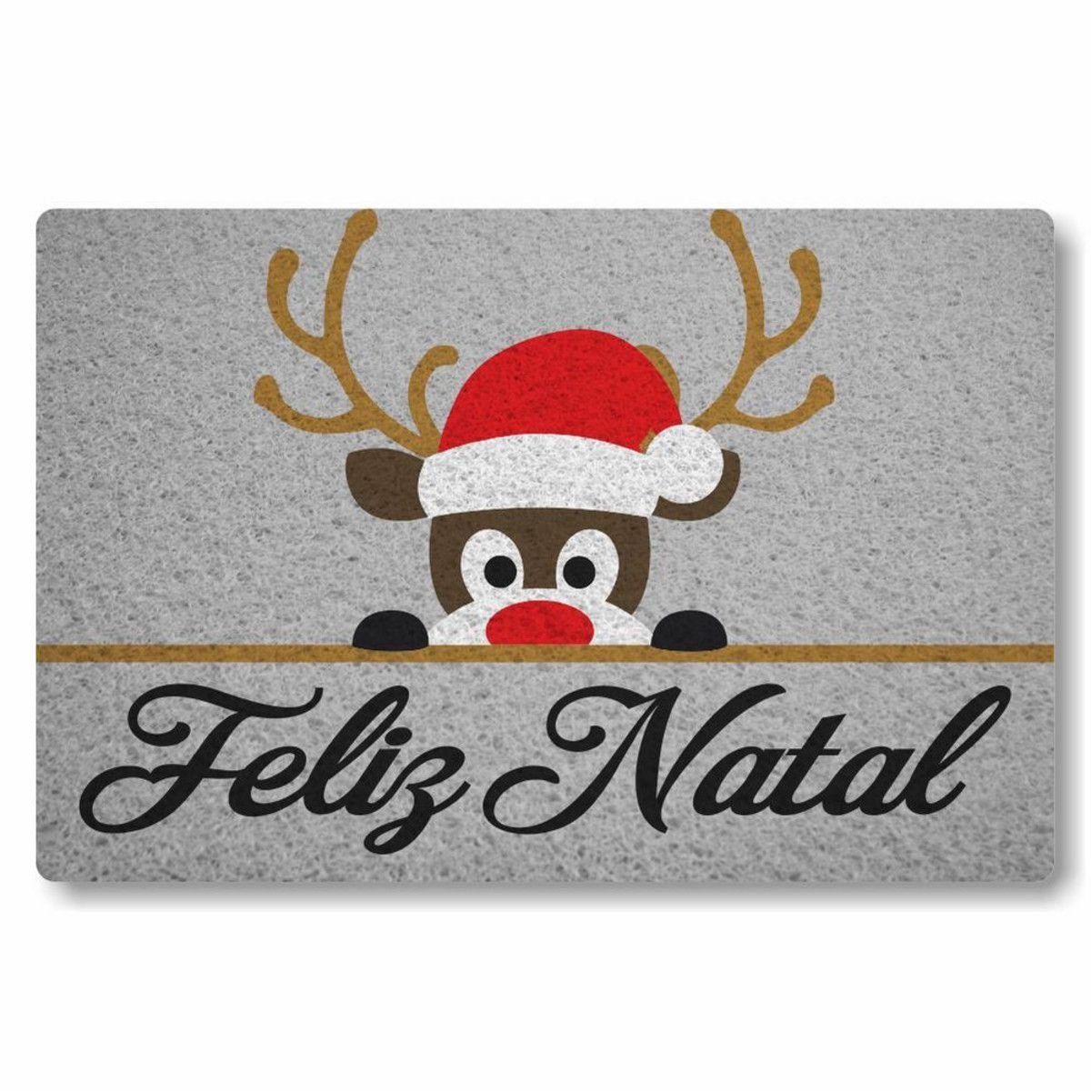 Tapete capacho Feliz Natal Rena 60x40cm cinza  - Zap Tapetes e Capachos Personalizados
