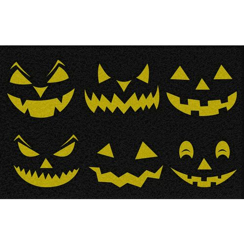 Tapete Capacho Halloween Abóbora  60x40 cm amar  - Zap Tapetes e Capachos Personalizados