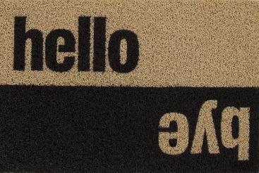 Tapete Capacho Hello, Bye - 60x40 cm  - Zap Tapetes e Capachos Personalizados