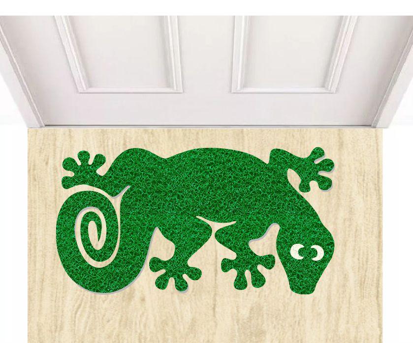 Tapete capacho lagartixa verde 60x40 cm  - Zap Tapetes e Capachos Personalizados