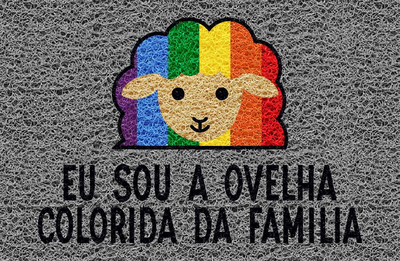 Tapete capacho Ovelha colorida da família LGBT 60x40cm  - Zap Tapetes e Capachos Personalizados