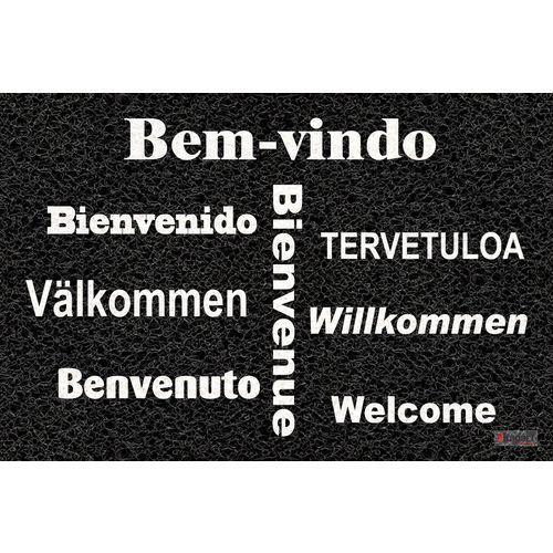 Tapete Capacho Personalizado - Bem vindo várias línguas 60x40cm - Preto  - Zap Tapetes e Capachos Personalizados