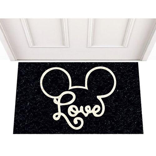 Tapete Capacho Personalizado - Love Mickey 60x40 cm - Preto  - Zap Tapetes e Capachos Personalizados