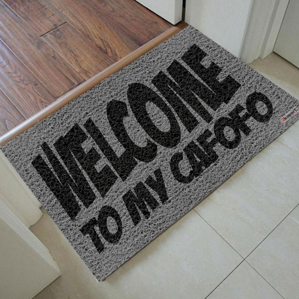 Tapete Capacho Welcome My Cafofo 60x40cm CINZA  - Zap Tapetes e Capachos Personalizados
