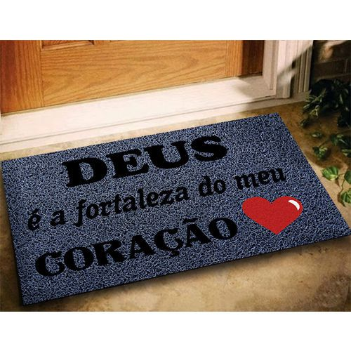 Tapete Deus É A Fortaleza Do Meu Coração - Cinza 60x40cm  - Zap Tapetes e Capachos Personalizados