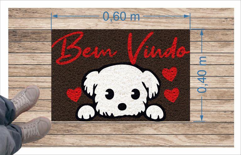 Tapete para Apartamento, Bem Vindo West Terrier 60X40 cm  - Zap Tapetes e Capachos Personalizados