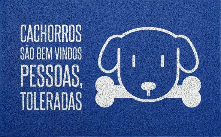 Tapete para Apartamento Cachorros São Bem Vindos 60x40 cm - Azul  - Zap Tapetes e Capachos Personalizados