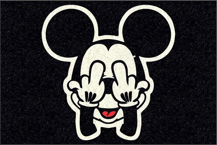 Tapete para Apartamento Mickey Doidão 60x40 cm Preto  - Zap Tapetes e Capachos Personalizados