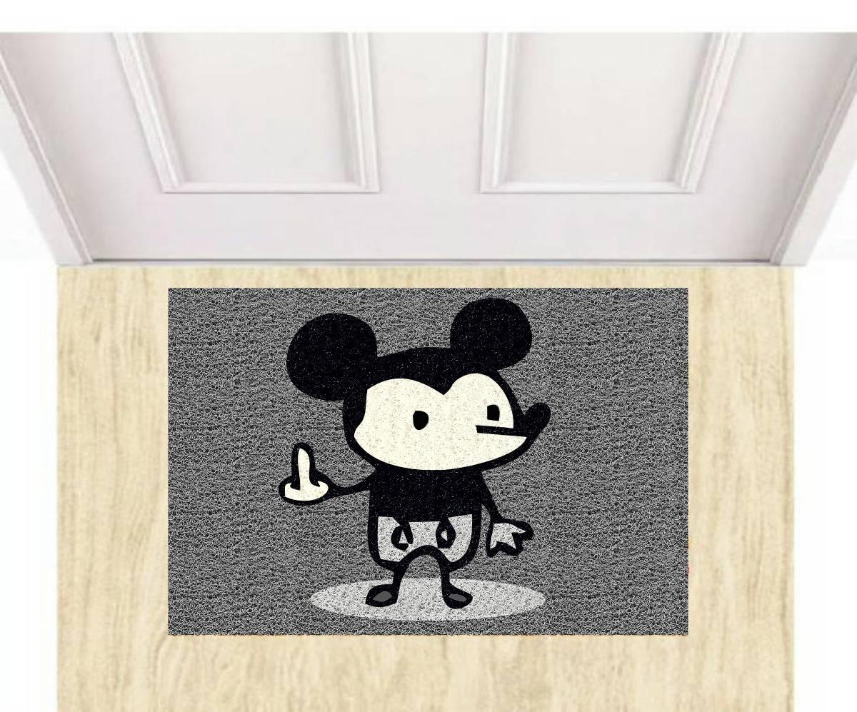 Tapete para Apartamento Mickey Doidão III 60x40 cm Preto  - Zap Tapetes e Capachos Personalizados