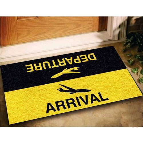 Tapete para apartamento,  Viajante 60x40cm Amarelo / Preto  - Zap Tapetes e Capachos Personalizados
