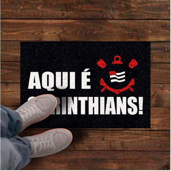 Tapete personalizado aqui é Corinthians! 60x40 cm  - Zap Tapetes e Capachos Personalizados