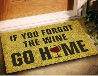 Tapete Se Você Esqueceu O Vinho, Vá Para Casa - Ouro 60x40cm  - Zap Tapetes e Capachos Personalizados