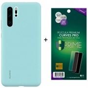 Capa Protetora Silicone Huawei P30 Pro Azul Original + Película Premium Hprime Huawei P30 Pro - Curves Pro BRINDE