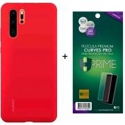 Capa Protetora Silicone Huawei P30 Pro Vermelha Original + Película Premium Hprime Huawei P30 Pro - Curves Pro BRINDE