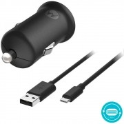 Carregador Veicular Motorola Turbo Power 18W USB C Preto