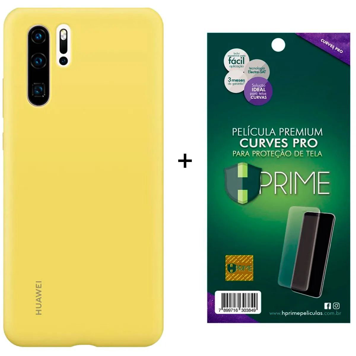 Capa Protetora Silicone Huawei P30 Pro Amarela Original + Película Premium Hprime Huawei P30 Pro - Curves Pro BRINDE