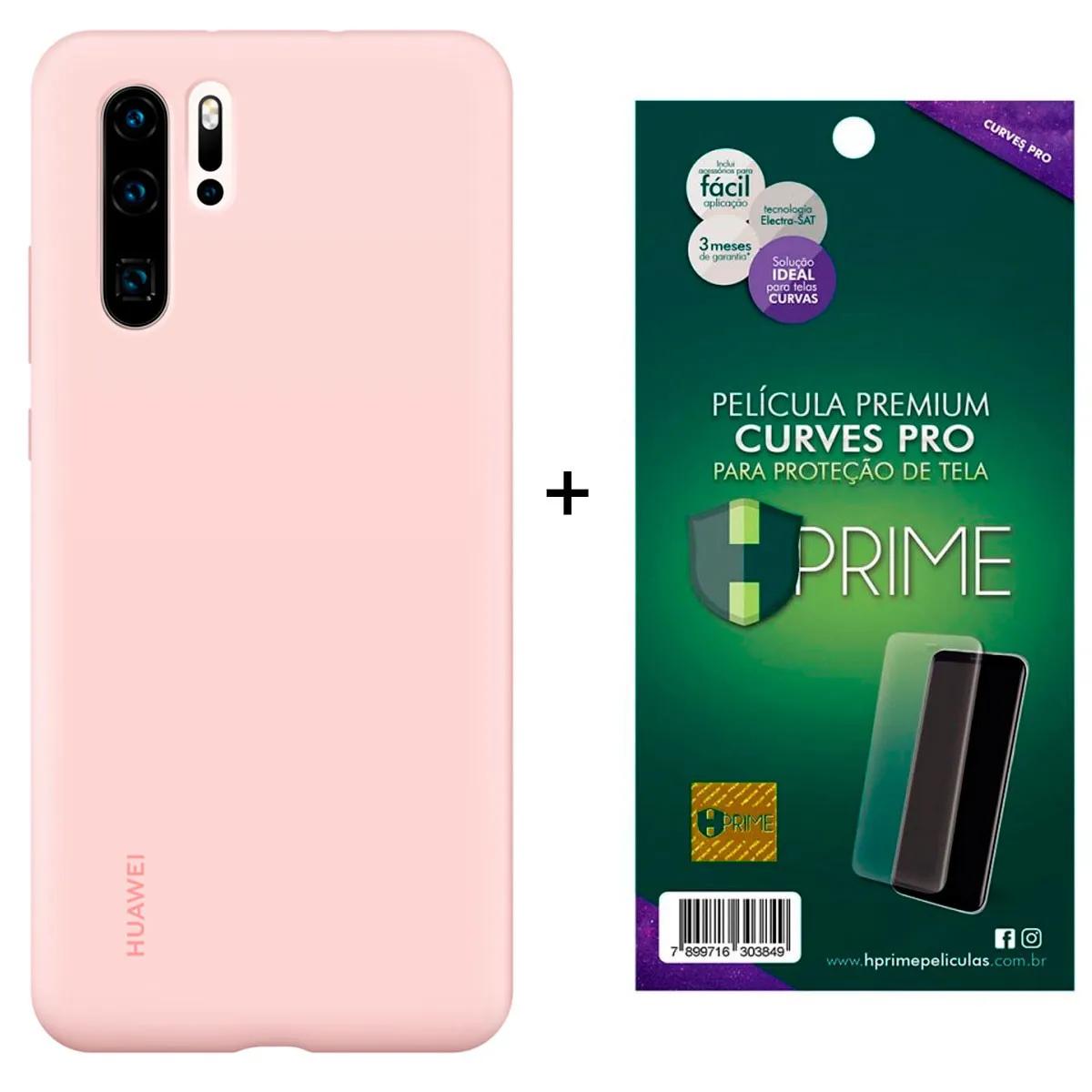 Capa Protetora Silicone Huawei P30 Pro Rosa Original + Película Premium Hprime Huawei P30 Pro - Curves Pro BRINDE
