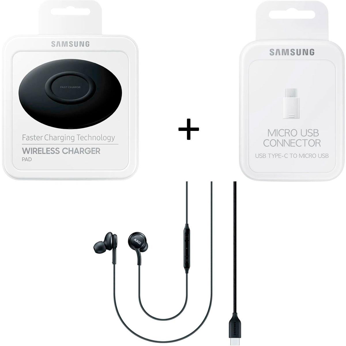 Kit Carregador Wireless + Adaptador USB + Fone AKG Usb-C