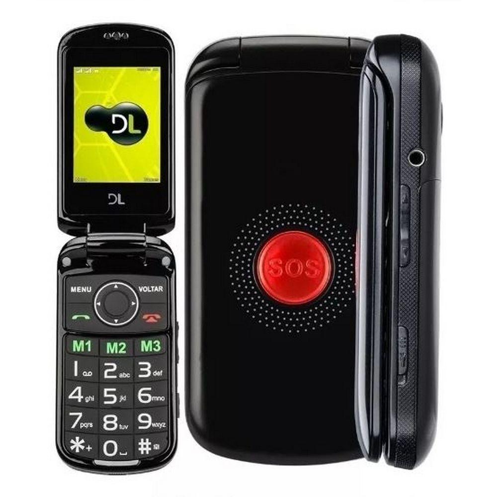 Celular Flip DL YC130 Dual Chip Câmera Rádio FM Função Sos