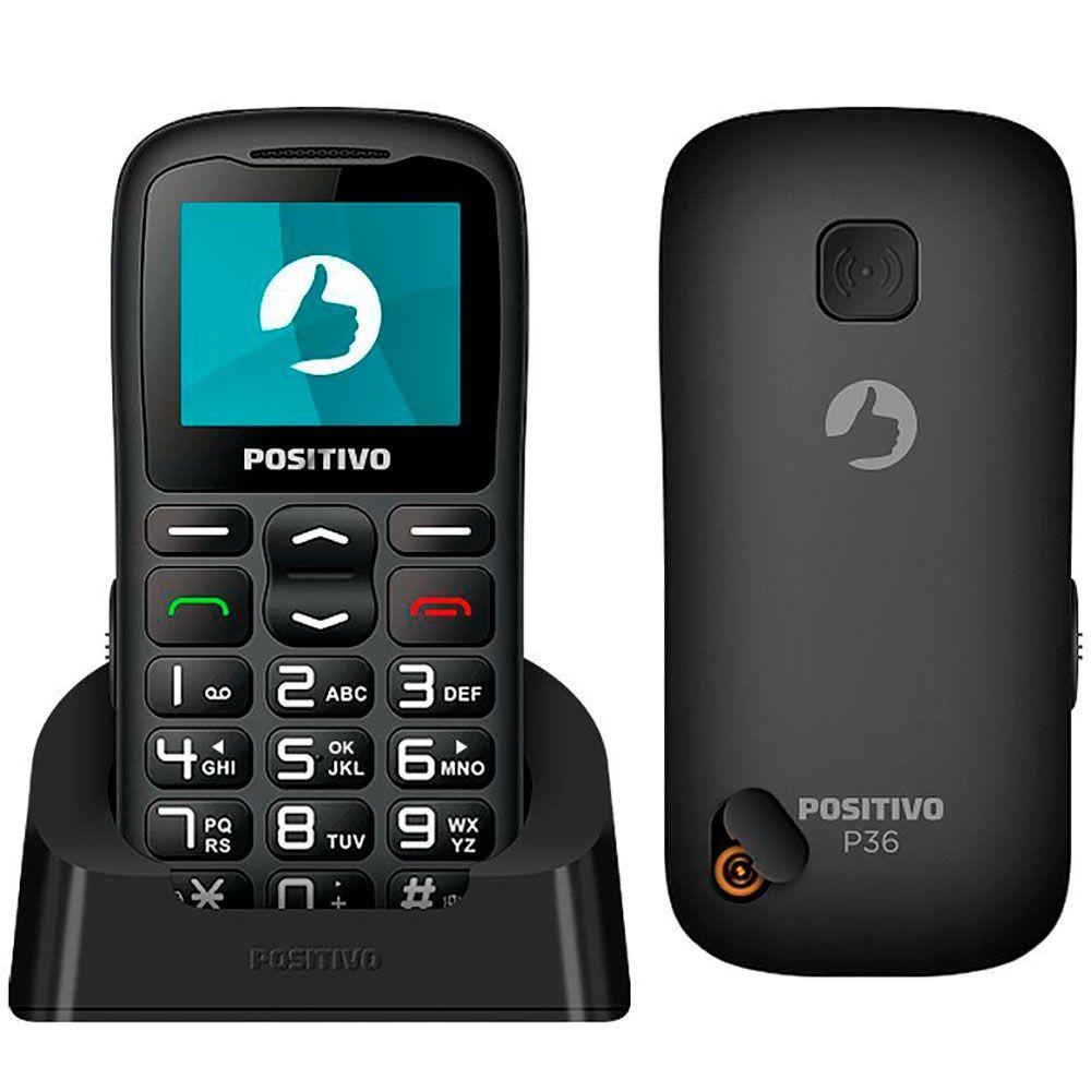 Celular Positivo P36 Preto 3g Tela 1.8 Dual Bluetooth Rádio