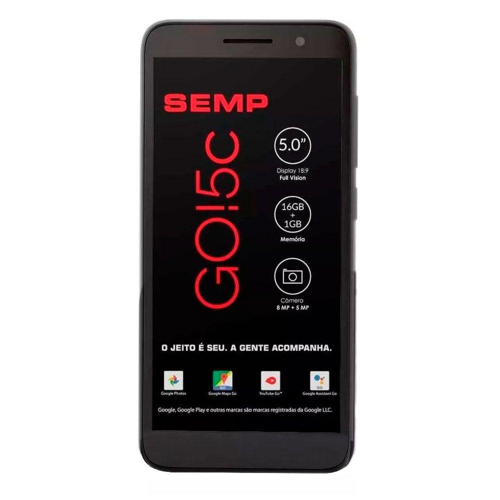 Smartphone Semp Go 5c, Preto 5'' 16gb, Câmera 8+5 Mp 4g