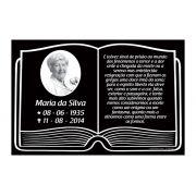 Placa Lápide Tipo Bíblia com Foto - 1 Pessoa Modelo 02