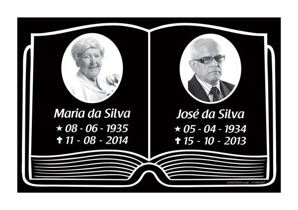 Placa Lápide Tipo Bíblia com Foto - 2 Pessoas Modelo 01