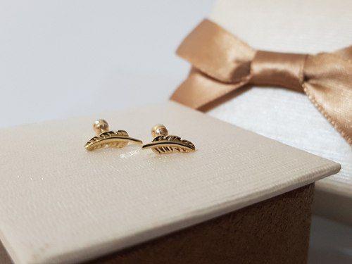 Piercing Pena Orelha Tragus Ouro 18k Feminino