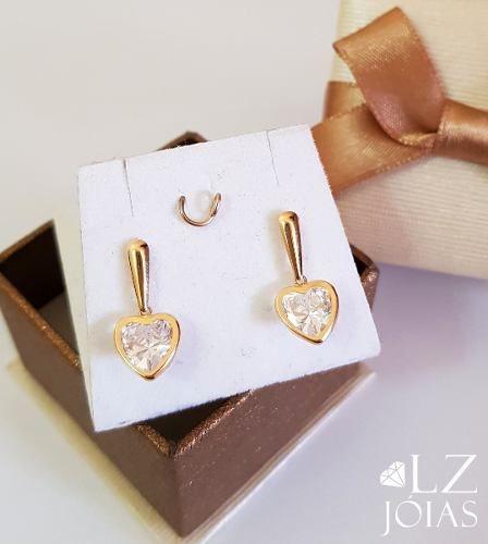 Brinco Coração Zirconia Grande Pendurado Ouro 18k Feminino
