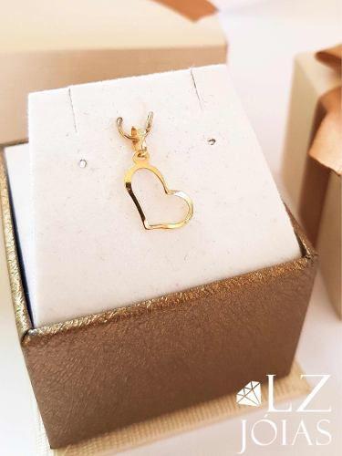 Pingente Coração Ouro 18k 750 Coraçãozinho Vazado Curvo Feminino