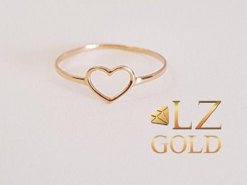 Anel Coração Vazado Delicado Em Ouro 18k Feminino + Garantia