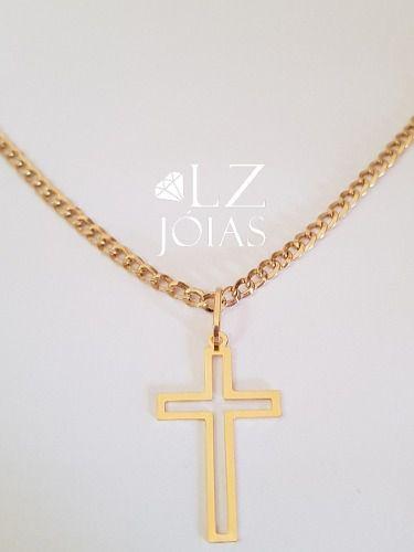 Pingente Cruz Crucifixo Vazado Masculino Ouro 18k Grande