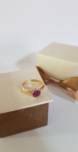 Anel Chuveiro Redondo Ouro 18k Rubi Natural Feminino Garantia Vermelho