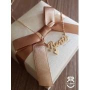 Gargantilha Nome Personalizado Plaquinha Com Coração Pendurado Ouro 18k Feminina Singapura + Garantia