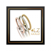 Anel trio de aneis bolinha bolinhas Ouro 18k Amarelo Rose Branco