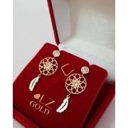 Brinco Filtro Dos Sonhos Pena Amuleto Zirconia Ouro 18k 750