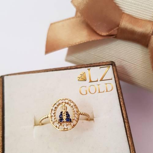 Anel Nossa Senhora Aparecida Oval Zircônia Azul Ouro 18k 750 Cravejada