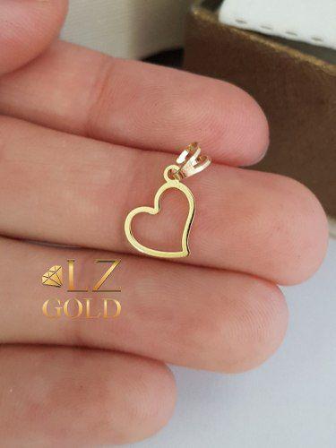 Pingente Coração Vazado Ouro 18k Quadricular Delicado Feminino