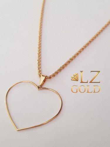 Pingente Coração Vazado Grande Ouro 18k Gigante Lindo Moda