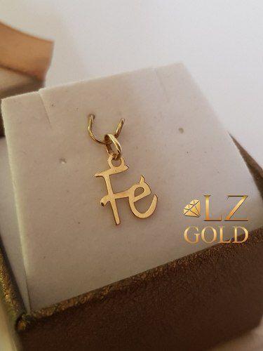 Pingente Fé Ouro 18k Religião Religioso Liso Delicado Letra