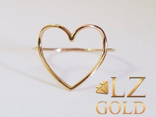 Anel Coração Ouro 18k Vazado Grande Delicado Luxo + Garantia