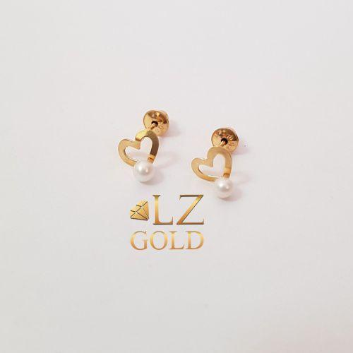 Brinco Coração Vazado Com Perola Mini Ouro 18k 750 Fofo Love